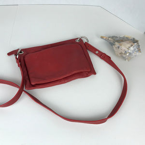 Red genuine leather J.Jill crossbody bag